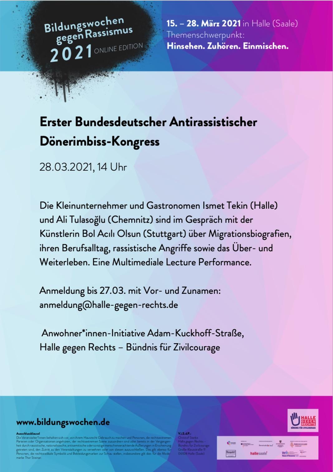 Plakat Erster Bundesdeutscher Antirassistischer Dönerimbiss-Kongress
